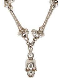 Alexander McQueen - Metallic Silver Skull & Bone Link Necklace for Men - Lyst
