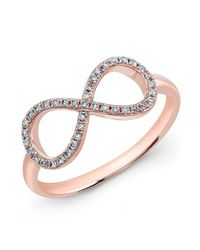 Anne Sisteron - Pink 14kt Rose Gold Diamond Large Infinity Ring - Lyst
