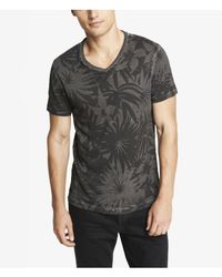 Express - Black Garment Dyed Floral Print Vneck Tee for Men - Lyst