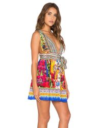 Camilla - Multicolor V-Neck Mini Dress - Lyst
