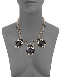 Cara - Black Glitz Three-drop Station Necklace/goldtone - Lyst