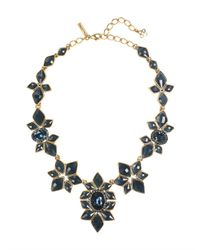 Oscar de la Renta - Blue Navy Resin & Crystal Necklace - Lyst