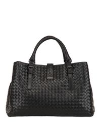 Bottega Veneta | Black Roma Classic Intreccio Nappa Leather Bag | Lyst