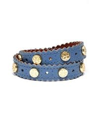 Tory Burch - Blue Perforated Leather Wrap Bracelet - Lyst