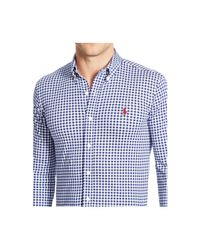 Polo Ralph Lauren - Blue Gingham Knit Dress Shirt for Men - Lyst