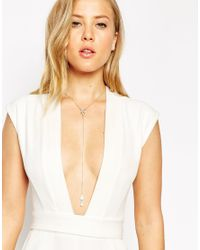 ASOS - Metallic Floating Pearl Necklace - Lyst