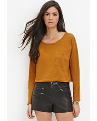 Forever 21 - Orange Slub Knit Crop Top - Lyst