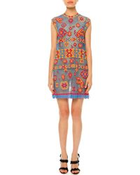 Valentino - Multicolor Southwest-print Tulle Illusion Dress - Lyst