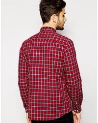 ASOS - Red Check Shirt In Long Sleeve for Men - Lyst