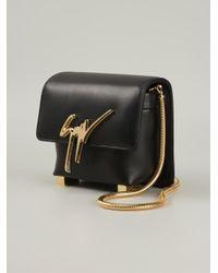 Giuseppe Zanotti - Black Logo Plaque Calf-Leather Shoulder Bag - Lyst