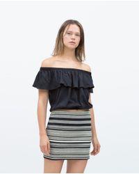 Zara   Gray Printed Skirt   Lyst