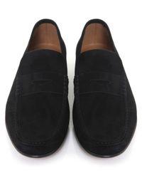 Stemar - Black Sorrento Suede Penny Loafers for Men - Lyst