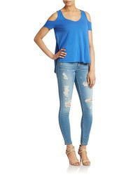 Guess | Blue Cold Shoulder Hi Lo Top | Lyst