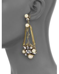 Erickson Beamon | Metallic Stratosphere Crystal & Faux Pearl Statement Drop Earrings | Lyst