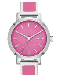 DKNY - Pink 'soho' Logo Round Bangle Watch - Lyst