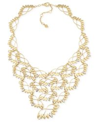 Carolee | Metallic Gold-Tone Leaves Bib Necklace | Lyst