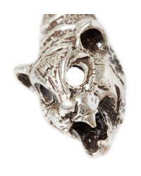 Saint Laurent - Metallic Lynx-Head Engraved Silver Cuff for Men - Lyst