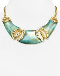 Alexis Bittar | Blue Interlocked Liquid Link Bib Necklace, 17"