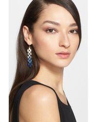 St. John - Metallic Degrade Baguette Crystal Earrings - Lyst