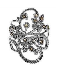 Aeravida - Metallic Beautiful Marcasite Flower Vine Sterling Silver Ring - Lyst