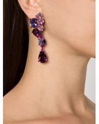 Oscar de la Renta | Purple Asymmetric Crystal Clip Earrings | Lyst