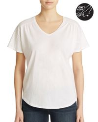 Lord & Taylor | Black Shirred V Neck Tee | Lyst
