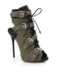 Giuseppe Zanotti | Gray Military Canvas Buckle Ankle Boots | Lyst