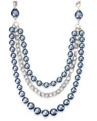 Macy's - Blue Ali Khan Imitation Pearl Three-row Frontal Necklace - Lyst