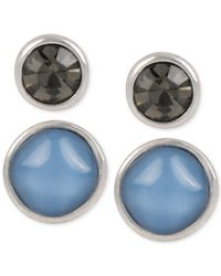 Kenneth Cole | Blue Silver-tone Mixed Stone Duo Stud Earring Set | Lyst