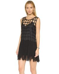 Free People - Black Sequin Shell Drop Waist Dress - Lyst
