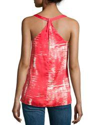 BCBGMAXAZRIA - Red Edita Brushstroke-Print Twisted Back Top - Lyst