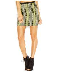 RACHEL Rachel Roy | Green Graphic-jacquard Body-con Mini Skirt | Lyst