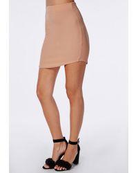 Missguided | Natural Women's Curve Hem Mini Skirt - Nude | Lyst