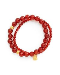 Satya Jewelry | Red Beaded Stretch Bracelets - Carnelian (set Of 2) | Lyst
