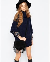 Pieces - Blue Oversized Knitted Poncho - Lyst