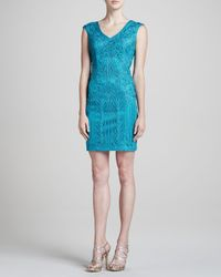 Sue Wong - Blue Vneck Sheath with Soutache - Lyst