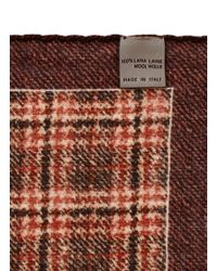 Canali - Red Plaid Wool Pocket Square for Men - Lyst