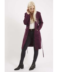 TOPSHOP - Purple Longline Suede Trench Coat By Rare - Lyst