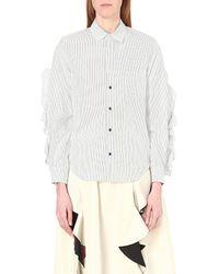 Toga - Blue Ruffle-detail Cotton Shirt - Lyst
