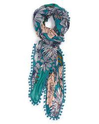 Halogen - Blue Floral Print Oblong Scarf - Lyst