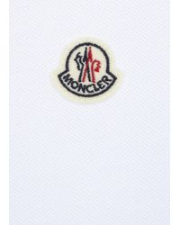 Moncler | White Blue Piqué Cotton Polo Shirt for Men | Lyst