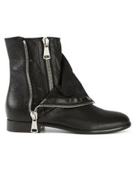Casadei - Black Zipper Biker Boots - Lyst
