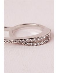 Missguided | Metallic Diamante Trim Double Ring Silver | Lyst
