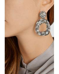 Oscar de la Renta - Metallic Silver-Plated Crystal Earrings - Lyst