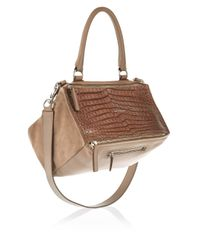 Givenchy | Brown Medium Pandora Bag In Taupe Croc-Effect Leather And Suede | Lyst