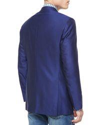 Kiton - Blue Twill Three-button Blazer for Men - Lyst