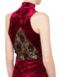 AKIRA | Purple Velvet Turtleneck Dress - Burgundy | Lyst