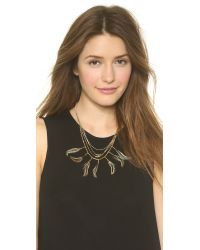 Serefina | Metallic Lariat Necklace - Pyrite/gold | Lyst