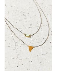 Urban Outfitters - Metallic Stone + Triangle High/low Necklace - Lyst