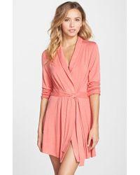 Splendid | Pink Jersey Wrap Robe | Lyst